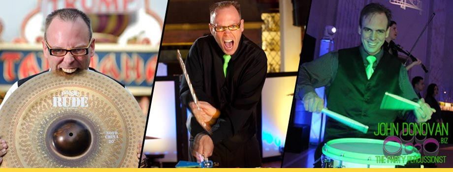 John Donovan The Party Percussionist is an acclaimed live Long Island wedding and mitzvah artist, musician and entertainer with DJS and Bands